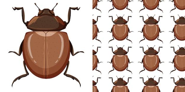 Bertle insect en naadloze achtergrond