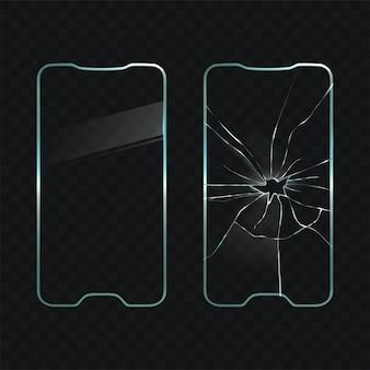 Beschadigde en nieuwe mobiele telefoon scherm glasvector