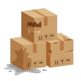 Beschadigde kratdozen 3d, gebroken kartonnen doos, vlakke stijl kartonnen pakjes nat