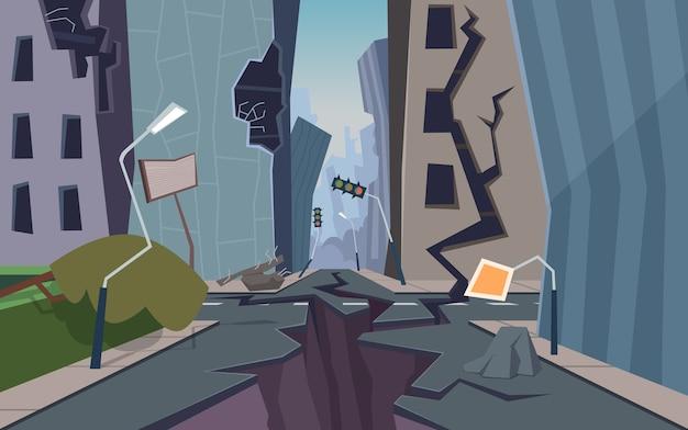 Beschadigde stad. vernietigd stedelijk landschap gebarsten grond en huizen ingestort natuurramp fouten cartoon achtergrond