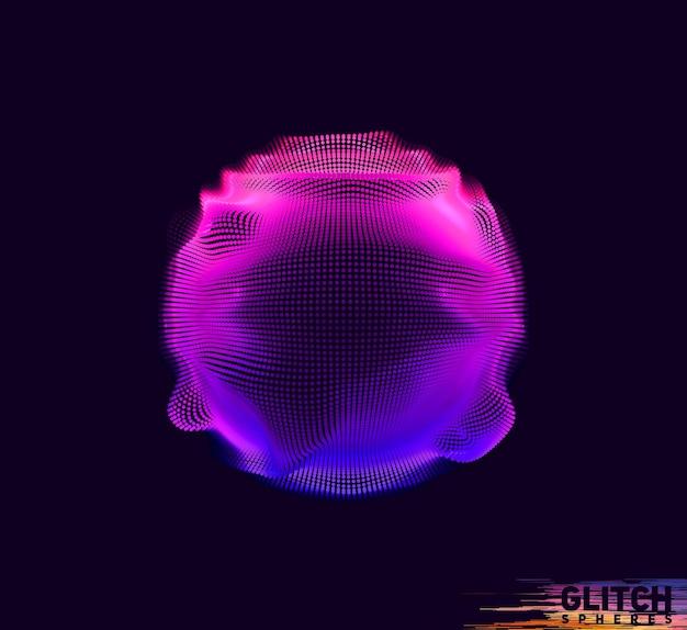 Beschadigde violet punt bol. abstracte kleurrijke mesh op zwart