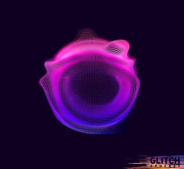 Beschadigde violet punt bol op donkere achtergrond
