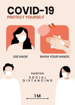 Bescherm jezelf tegen covid-19-poster