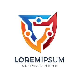 Bescherm technologie logo-ontwerpen