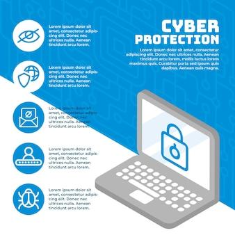 Bescherm tegen cyberaanvallenconcept