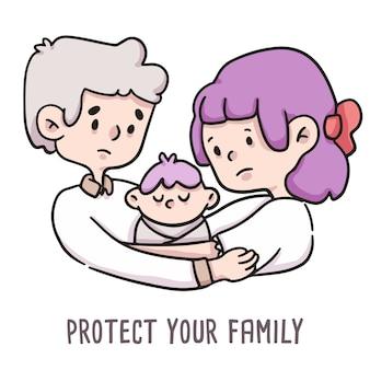 Bescherm uw familie covid-19 illustratie