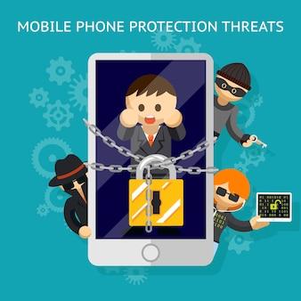 Bescherm uw mobiele telefoon tegen de dreiging. bescherming tegen aanvallen van hackers.