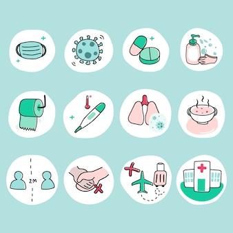 Bescherm uzelf tegen coronavirus pandemie icon set