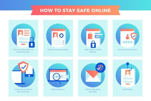 Beschermen tegen cyberaanvallen infographic sjabloon