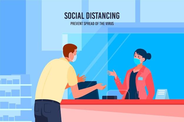 Beschermend glas voor sociale afstanden