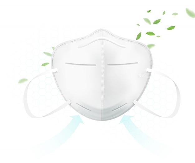 Beschermend masker n95 beschermt tegen virussen.