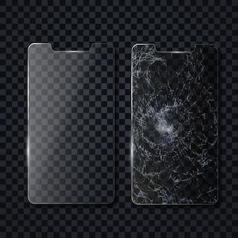 Beschermend scherm van een mobiele telefoon.