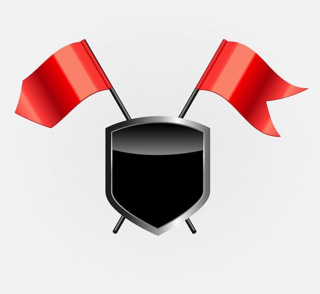 Beschermend schild met rode vlaggen illustratie
