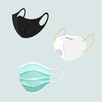 Beschermende gezichtsmasker set covid-19 awareness
