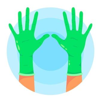 Beschermende groene handschoenen
