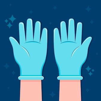 Beschermende handschoenen handgetekende ontwerp