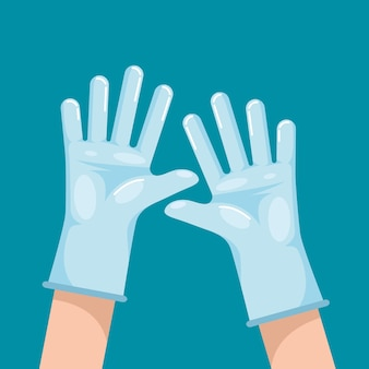 Beschermende handschoenen voor preventieconcept