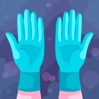 Beschermende handschoenen voor virusconcept