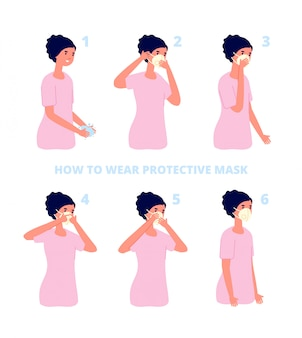 Beschermende maskerinstructie. bescherming tegen virussen of vervuiling, individuele preventie van griep. coronavirus gezondheid beschermen illustratie