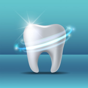 Beschermende vortex rond tand. bleken van menselijke tand.