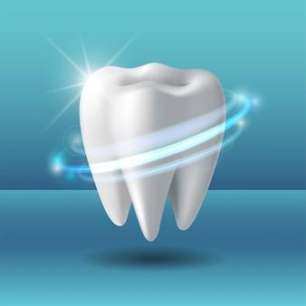 Beschermende vortex rond tand. whitening van menselijke tand.