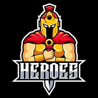 Beschermer helden mascotte logo esports