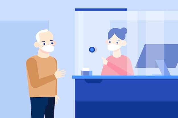 Beschermglas voor toonbank klant en werkgever