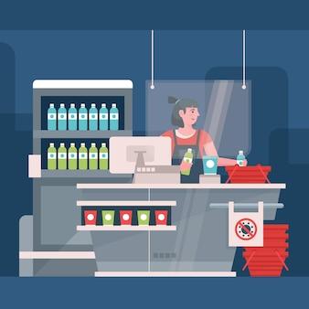 Beschermglas voor toonbanken in supermarkten