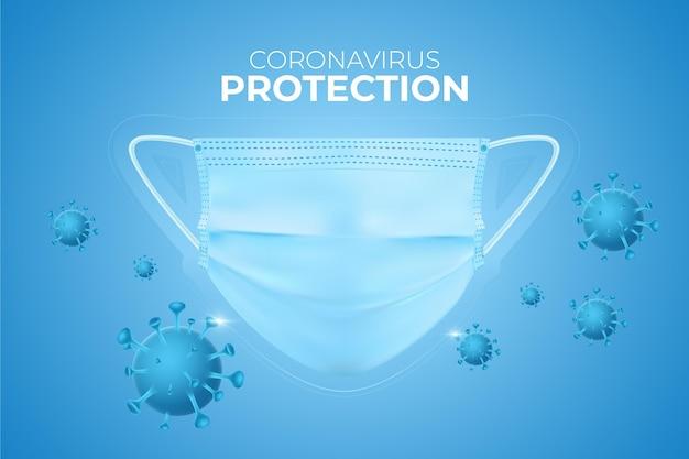 Bescherming achtergrond coronavirus met gezichtsmasker