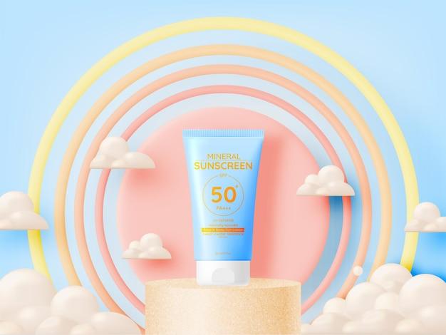 Bescherming cosmetische producten ontwerp, zonnebrandcrème en zonnebaden cosmetische producten ontwerp gezicht en lichaam