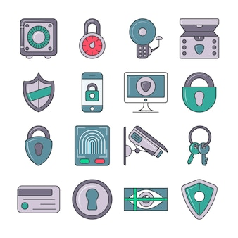 Bescherming en beveiliging pictogramserie
