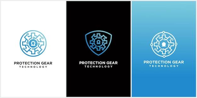Bescherming gear security logo mechanic gear logo