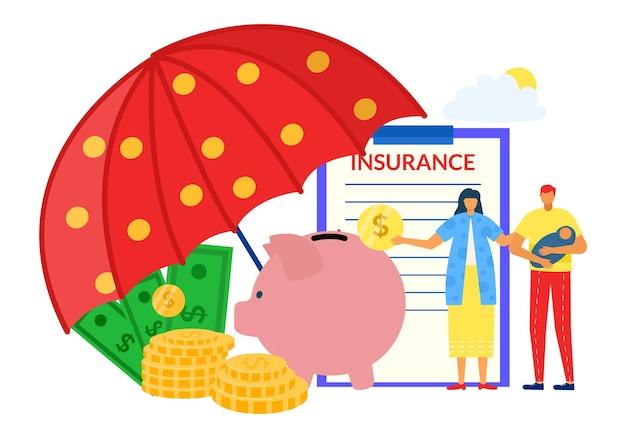 Bescherming geld veilig financiën concept vector illustratie kleine man vrouw paar karakter met verzekerde...