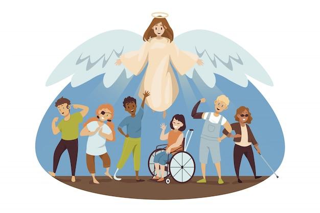 Bescherming handicap, religie christendom concept.