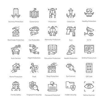 Bescherming lijn vector icons set