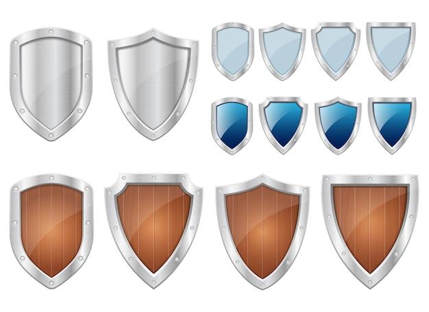 Bescherming metalen schild geïsoleerd op een witte achtergrond