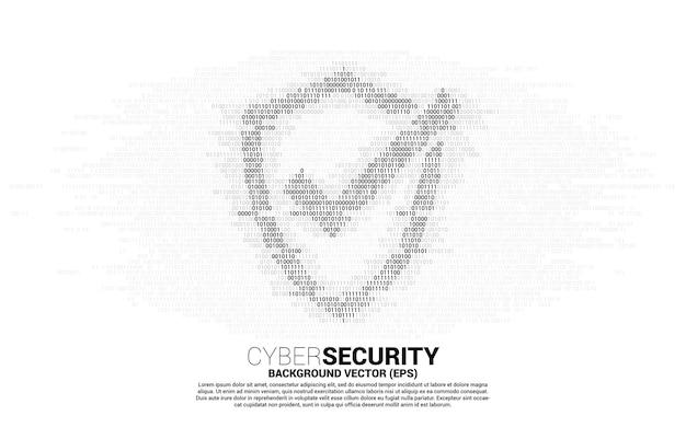 Bescherming schild icoon van één en nul binaire code cijfer matrixstijl. concept van bewakingsbeveiliging en veiligheid