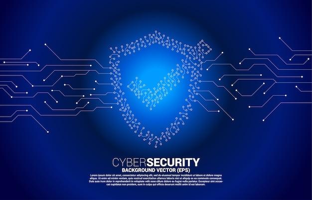 Bescherming schild icoon van printplaat stijl dot connect lijn. concept van bewakingsbeveiliging en veiligheid