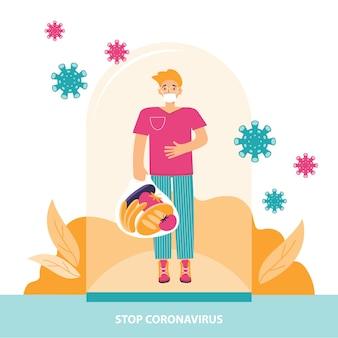 Bescherming tegen coronavirus. jonge man in een medisch masker staat onder een glazen kap. sociaal veilige afstand en persoonlijke bescherming tegen virussen tijdens een pandemie. stop coronavirus. illustratie