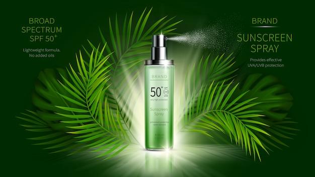Bescherming tegen de zon cosmetische vector realistische advertenties reclame