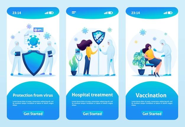 Bescherming tegen het virus bij ziekenhuisbehandeling en vaccinatie. platte 2d. vector illustratie mobiele app.