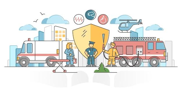 Bescherming van de openbare veiligheid door politie, ambulance en brandweerman schets concept.