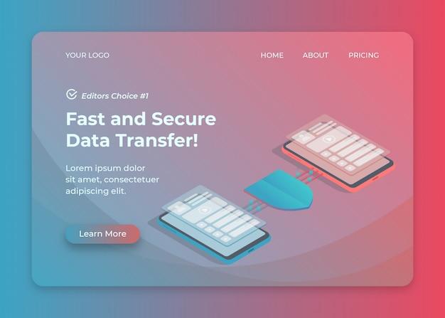 Bescherming van gegevensoverdracht en beveiliging isometrische illustratie