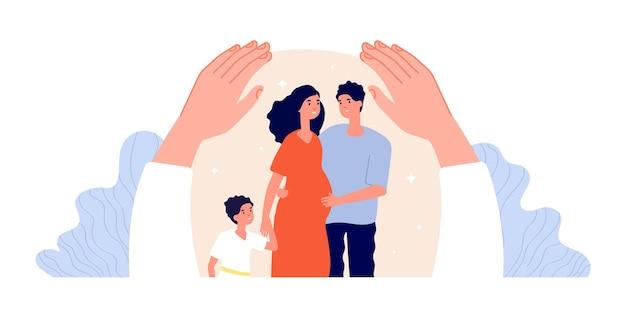 Bescherming van het gezin. kinderen volwassen ondersteuning, patiënt beschermd.