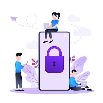 Bescherming van mobiele gegevens en persoonlijke informatie, mobiele telefoon met slot