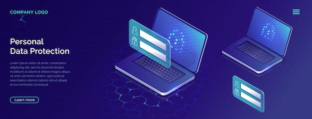 Bescherming van persoonlijke gegevens concept, accountbeveiliging