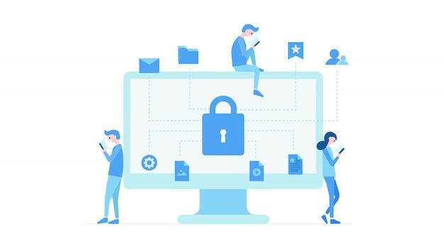 Bescherming van persoonlijke informatie plat ontwerp