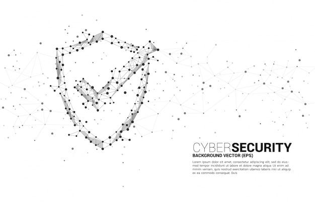 Beschermingsschild met vinkje uit puntverbindingslijn polygoonnetwerk. concept van bewaker beveiliging en veiligheid