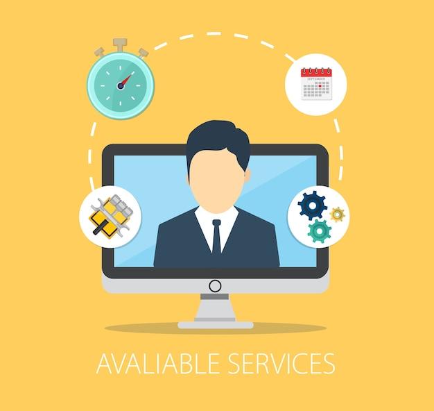 Beschikbare klantenservice geïsoleerd op geel