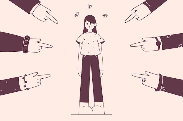 Beschuldigen schuldige van meisjesconcept